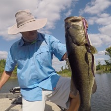 "Joe Balog, 9-2 bass caught in the Ocala national forest with a 16"" coach whip worm."